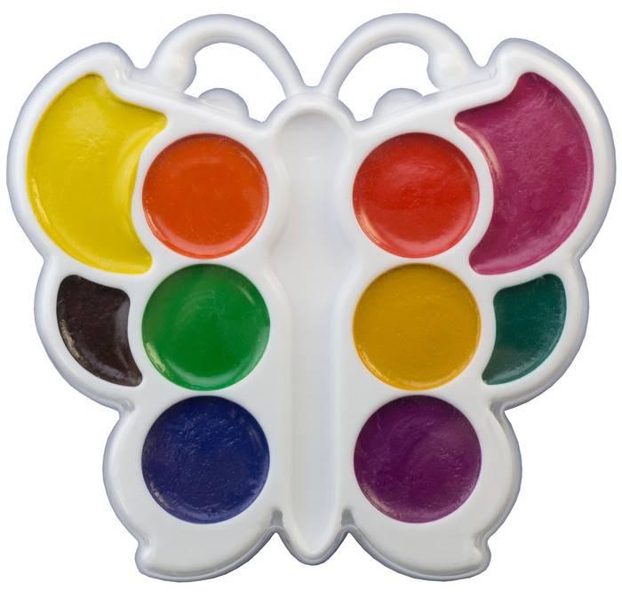 Акварель БАБОЧКА 10 цветов, фигурная пластиковая упаковка