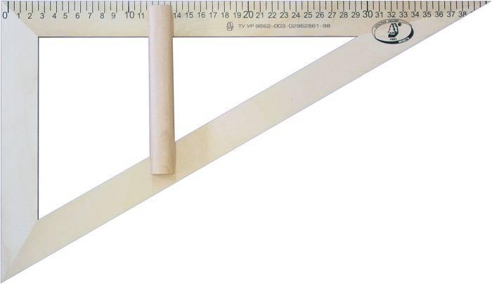 Треугольник классный 30° 40 см дерево, с держателем