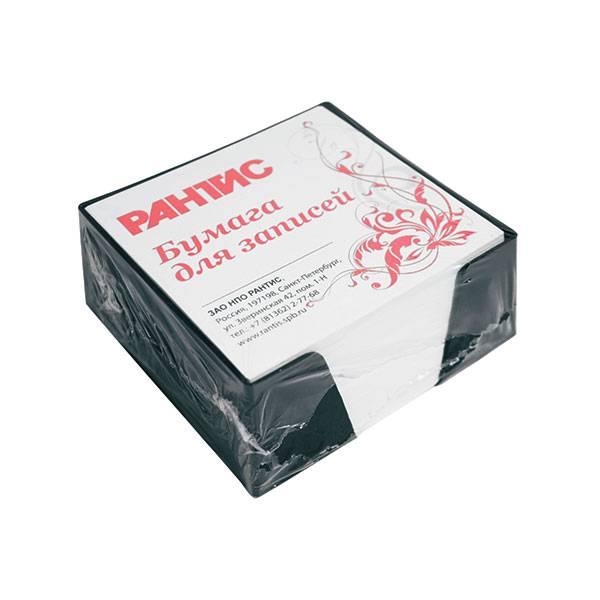 Подставка для блок-кубиков с блоком для записей 90x90x45 мм, черная