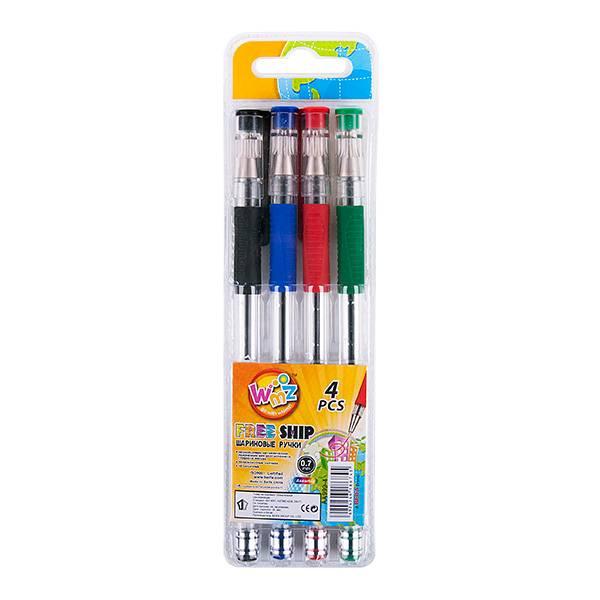 Набор шариковых ручек BEIFA 0,7 мм 4 цвета ассорти резиновый грип