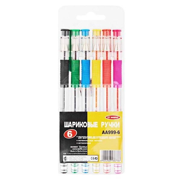 Набор шариковых ручек BEIFA 0,7 мм 6 цветов ассорти резиновый грип