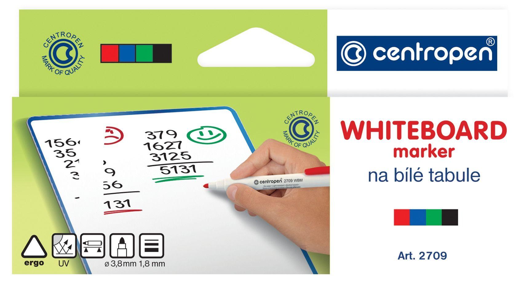 Набор маркеров для досок CENTROPEN BOARD 1,8 мм ассорти круглый 4 цвета