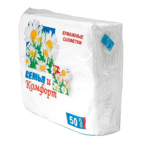 Салфетки бумажные, 1 слой, СЕМЬЯ И КОМФОРТ, 50 шт, 24х24 см, белый