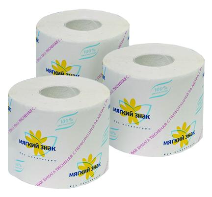 Туалетная бумага, 1 слой, МЯГКИЙ ЗНАК, 51 м