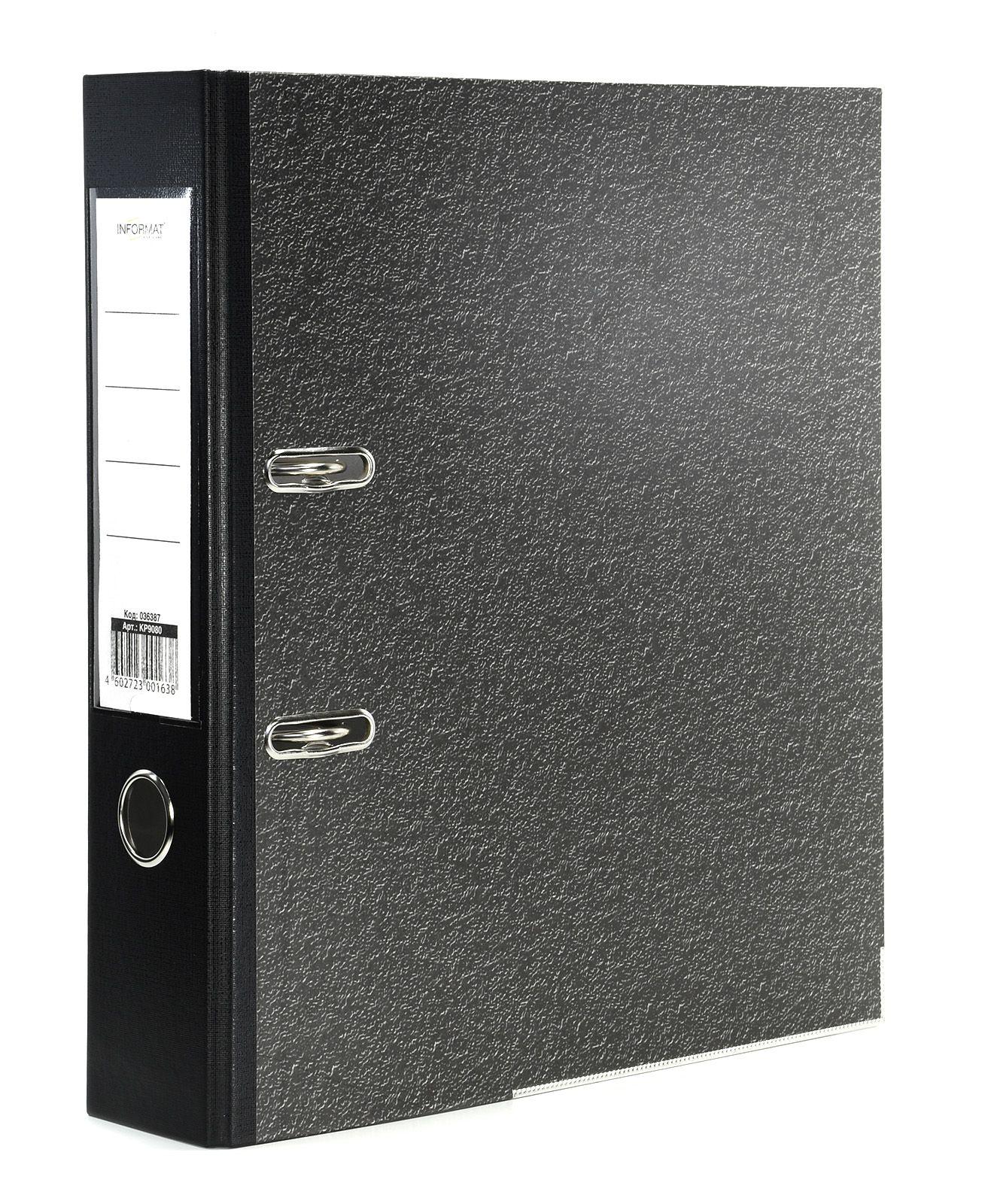 Папка-регистратор INFORMAT 75 мм бумага, черный мрамор