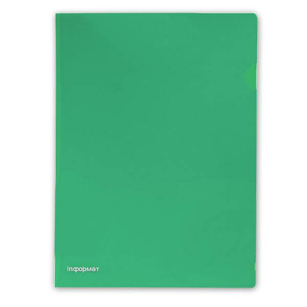 Папка-уголок inФОРМАТ А4, прозрачный пластик 180 мкм, зеленая