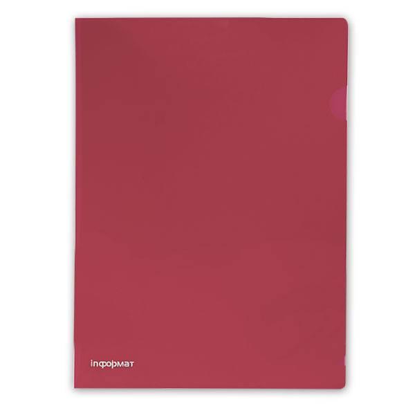 Папка-уголок inФОРМАТ А4, прозрачный пластик 180 мкм, красная