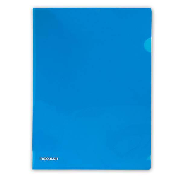 Папка-уголок inФОРМАТ А4, прозрачный пластик 180 мкм, синяя