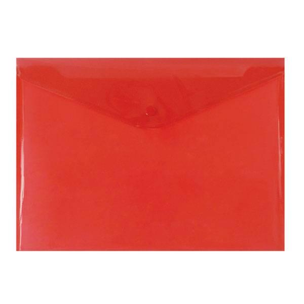 Пластиковый конверт inФОРМАТ А4, на кнопке, прозрачный 180 мкм, красный
