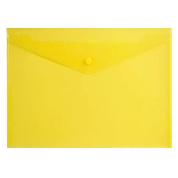 Пластиковый конверт inФОРМАТ А4, на кнопке, прозрачный 180 мкм, желтый