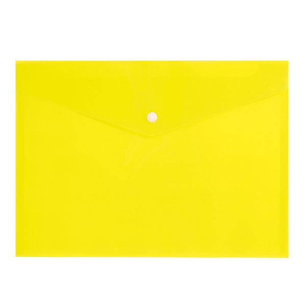 Пластиковый конверт inФОРМАТ А4, на кнопке, прозрачный 150 мкм, желтый