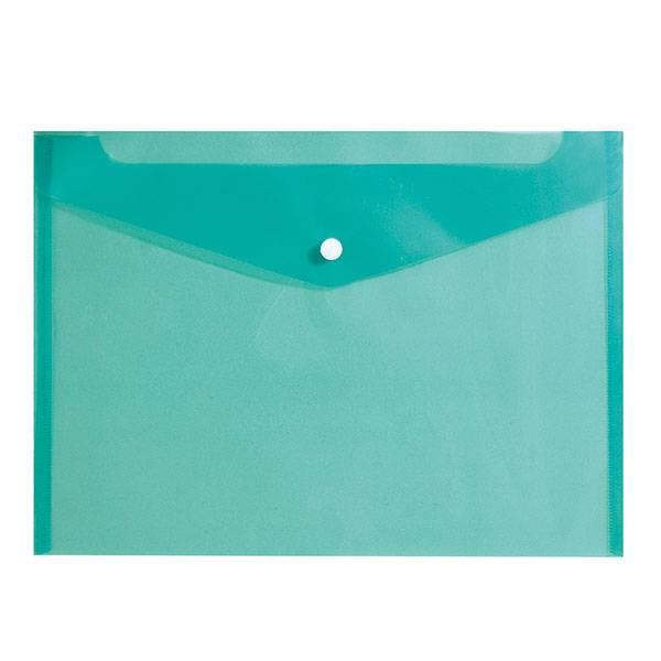 Пластиковый конверт inФОРМАТ А4, на кнопке, прозрачный 150 мкм, зеленый