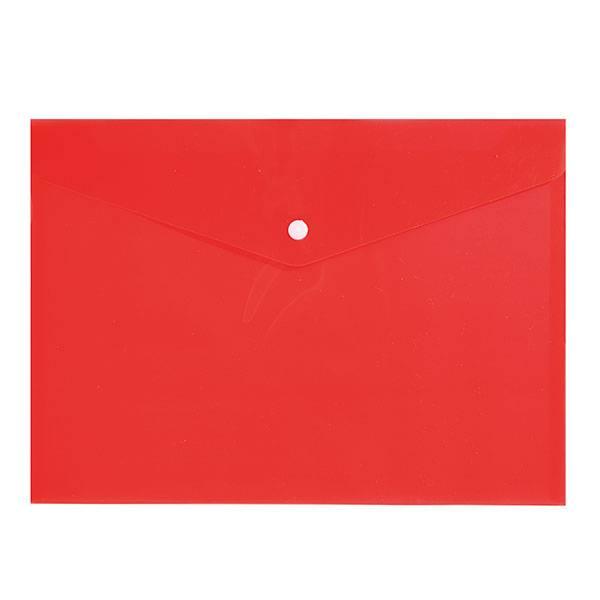Пластиковый конверт inФОРМАТ А4 на кнопке, прозрачный 150 мкм, красный