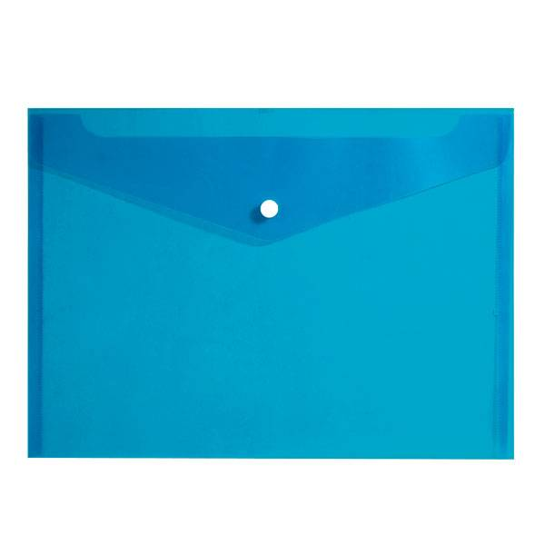 Пластиковый конверт inФОРМАТ А4, на кнопке, прозрачный 150 мкм, синий