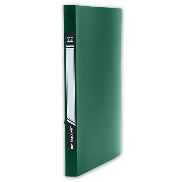 Папка с 1-м прижимом inФОРМАТ А4 пластик 550 мкм, зеленая