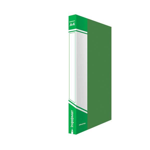 Папка с 1-м прижимом inФОРМАТ А4 пластик 750 мкм, зеленая