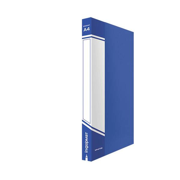 Папка с 1-м прижимом inФОРМАТ А4 пластик 750 мкм, синяя