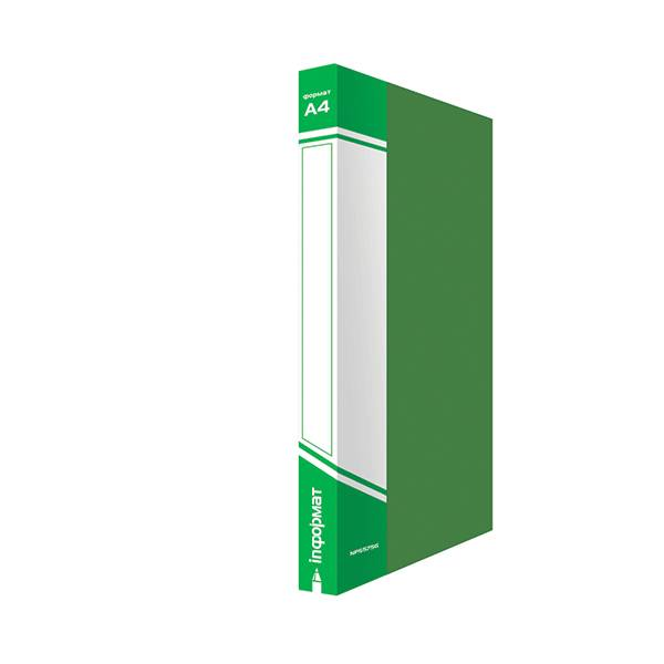 Папка с кольцами inФОРМАТ А4, 4 кольца, 25 мм, пластик 700 мкм, зеленая