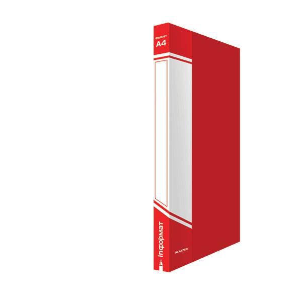 Папка-скоросшиватель inФОРМАТ А4, красная, пластик 700 мкм, карман для маркировки и внутренний