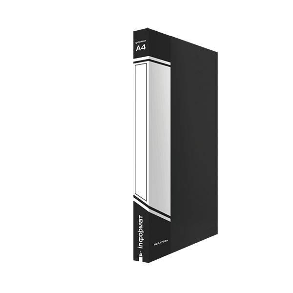 Папка-скоросшиватель inФОРМАТ А4, черная, пластик 700 мкм, карман для маркировки и внутренний