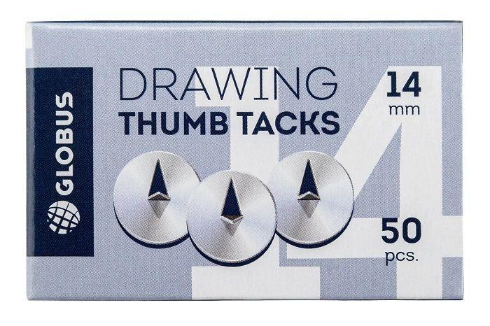 Кнопки кнацелярские ГЛОБУС 14 мм 50 штук металл