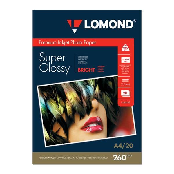 Фотобумага LOMOND SUPER GLOSSY BRIGHT А4, 260 г/м2, 20 листов, суперглянцевая