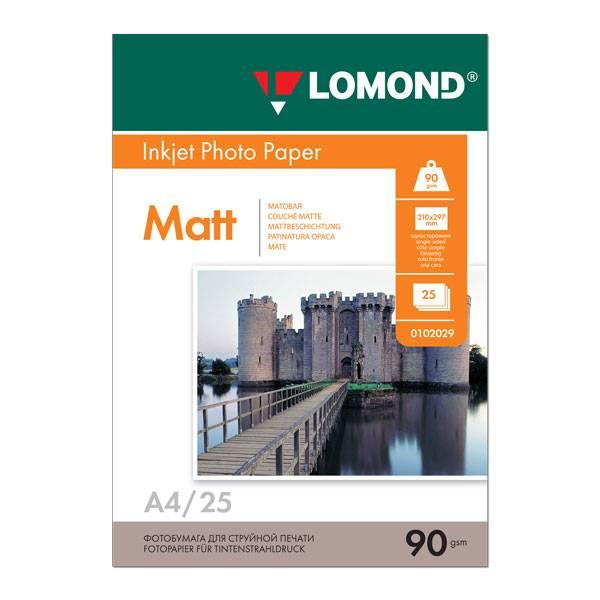 Фотобумага LOMOND матовая А4, 90 г/м2, 25 листов