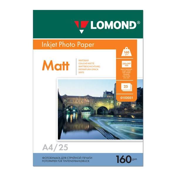 Фотобумага LOMOND матовая А4, 160 г/м2, 25 листов