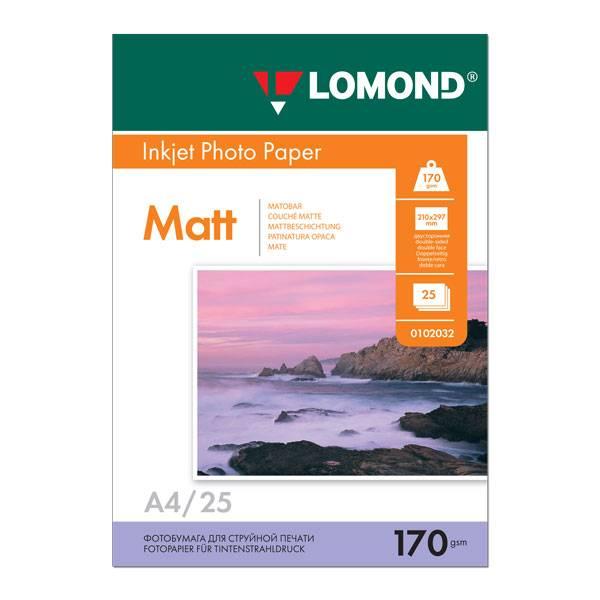 Фотобумага LOMOND матовая двухсторонняя А4, 170 г/м2, 25 листов