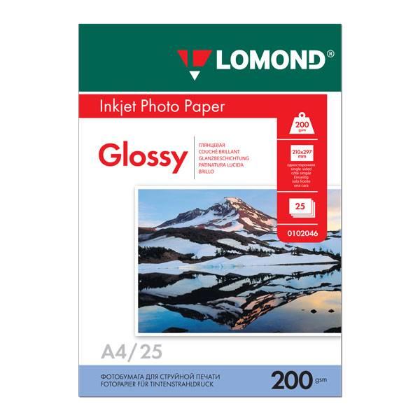Фотобумага LOMOND глянцевая А4, 200 г/м2, 25 листов