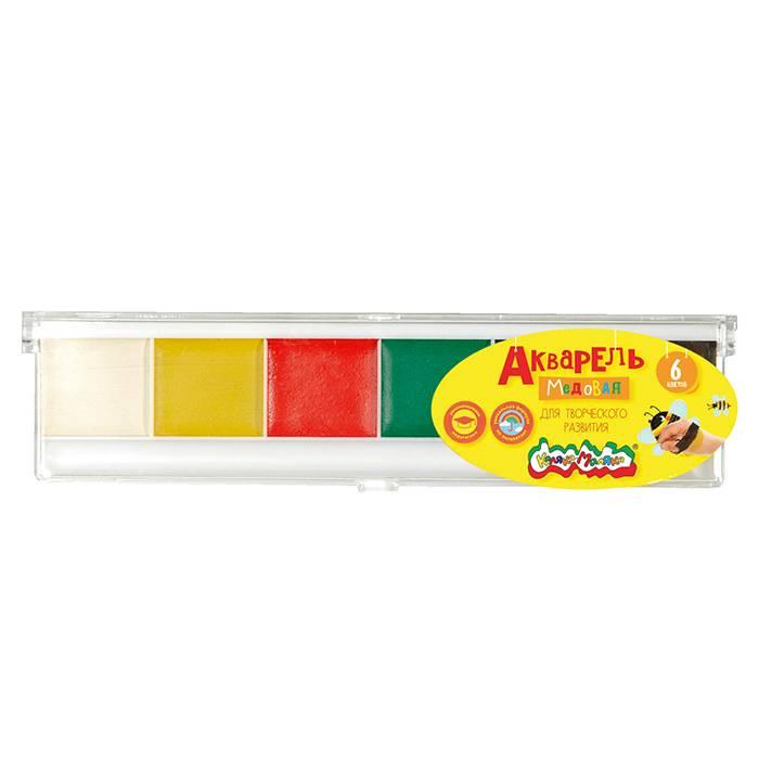 Акварель Каляка-Маляка, 6 цветов, квадратный кювет, пластиковая упаковка, без кисти