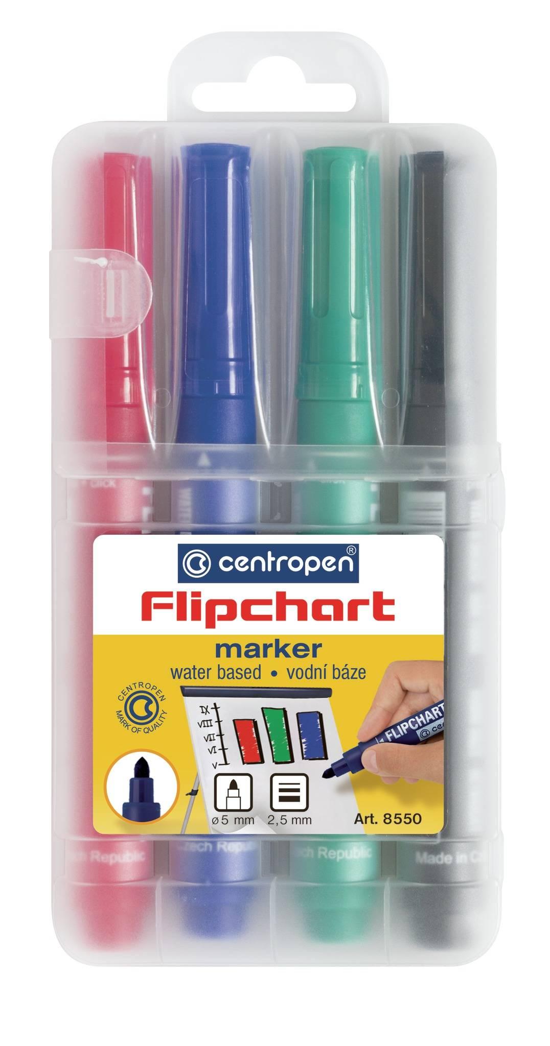 Набор маркеров для флипчартов CENTROPEN FLIPCHART 4 шт 2,5 мм ассорти круглый