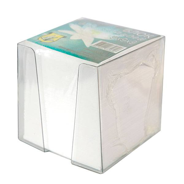Подставка для блок-кубиков с блоком для записей 90х90х90 мм, прозрачная