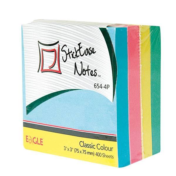 Блок самоклеящийся EAGLE 75х75 мм 400 листов, 4 цвета пастель