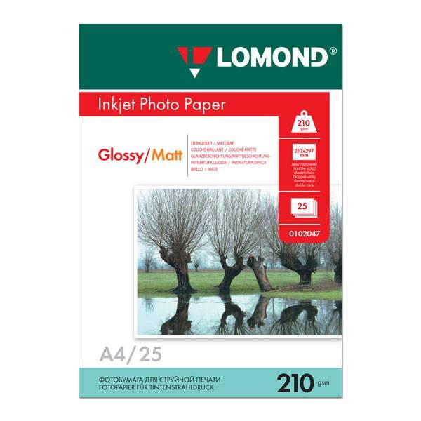 Фотобумага LOMOND глянцевая двухсторонняя А4, 210 г/м2, 25 листов