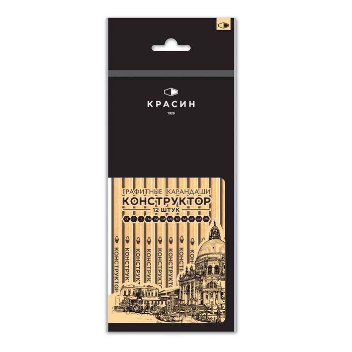 Набор чернографитных карандашей, КОНСТРУКТОР, 12 шт, ПВХ, 2М-2Т, заточенные, шестигранные