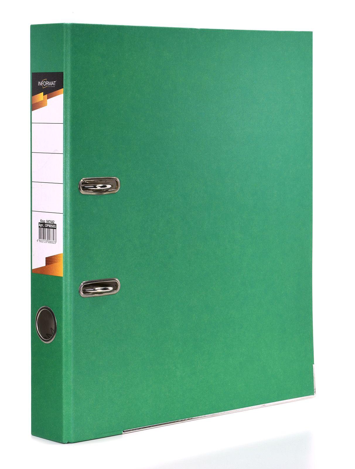 Папка-регистратор INFORMAT 55 мм бумага, зеленая