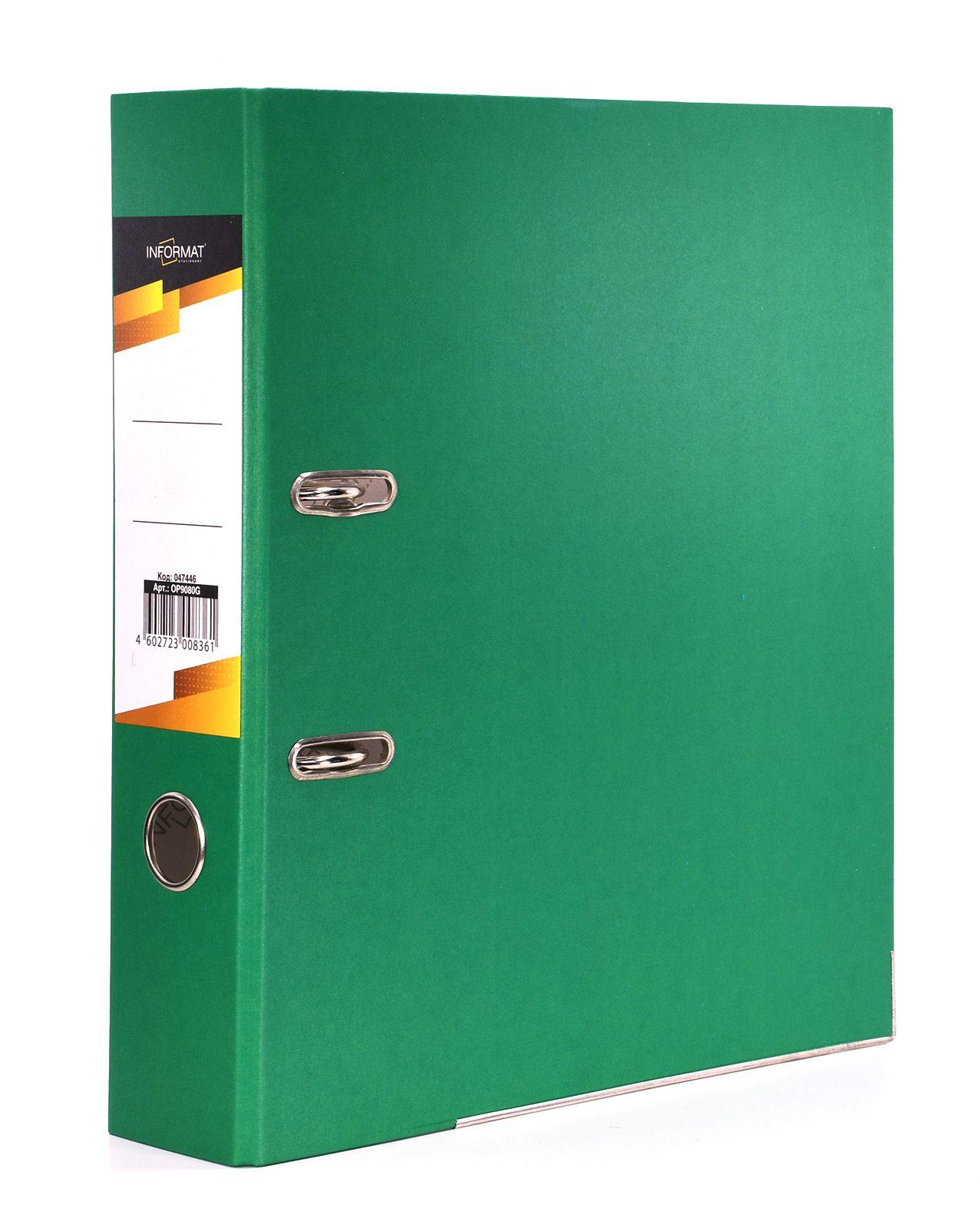 Папка-регистратор INFORMAT 75 мм бумага, зеленая