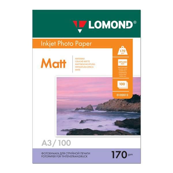 Фотобумага LOMOND матовая двухсторонняя А3, 170 г/м2, 100 листов