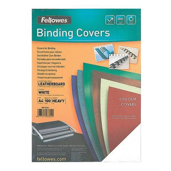 Обложка для переплета FELLOWES DELTA А4 картон 250 г/м² текстура кожа, белая 100 штук