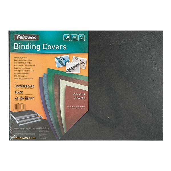 Обложка для переплета FELLOWES DELTA А3 картон 250 г/м² текстура кожа, чёрная 100 штук