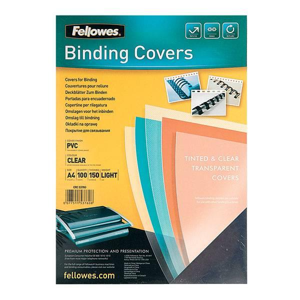 Обложка для переплета FELLOWES А4 пластик 150 мкм прозрачная 100 штук
