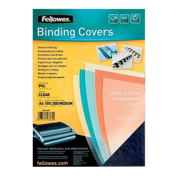 Обложка для переплета FELLOWES А4 пластик 200 мкм прозрачная 100 штук