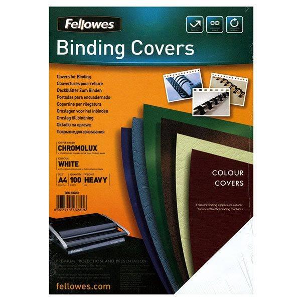 Обложка для переплета FELLOWES CHROMO А4 картон 250 г/м² глянцевая, белая 100 штук