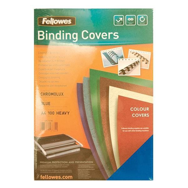 Обложка для переплета FELLOWES CHROMO А4 картон 250 г/м² глянцевая, синяя 100 штук