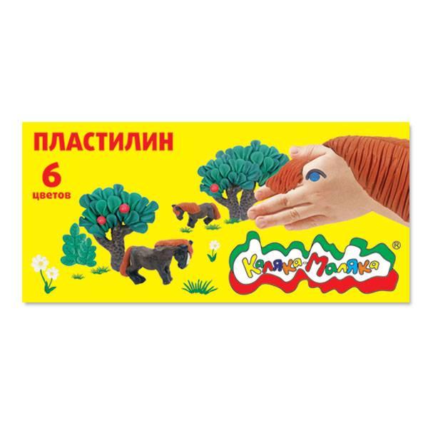 Пластилин Каляка-Маляка 6 цветов, 90 г со стеком