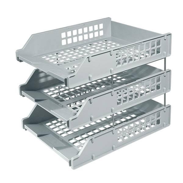 Лотки горизонтальные СТАММ STRONG 3 штуки, на металлических стержнях, серый пластик