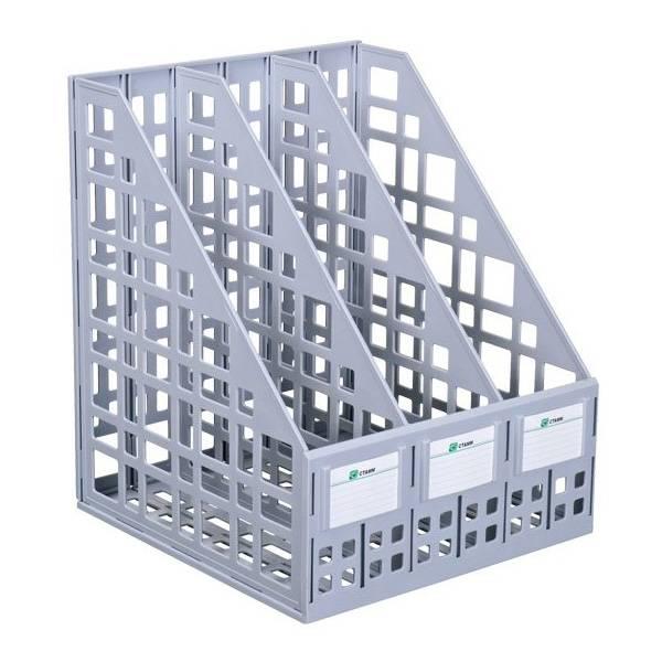 Лоток вертикальный СТАММ сборно-разборный СТАММ 3 отделения, 240 мм, серый пластик