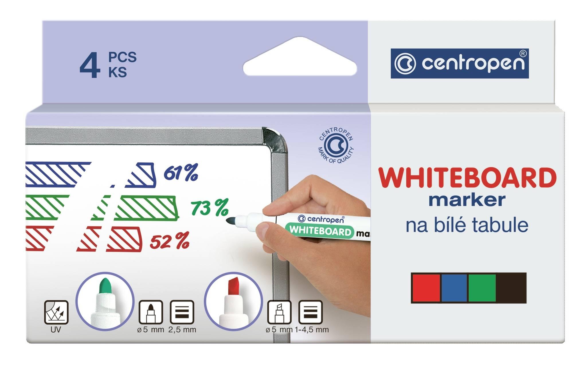 Набор маркеров для досок CENTROPEN BOARD 2,5 мм ассорти круглый 4 цвета