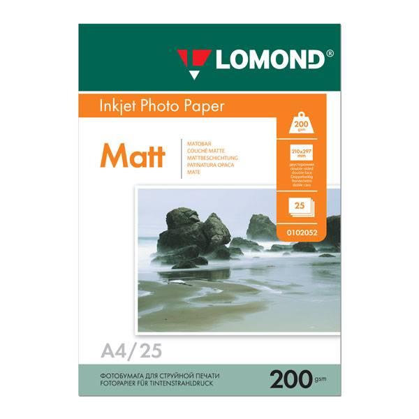 Фотобумага LOMOND матовая двухсторонняя А4, 200 г/м2, 25 листов